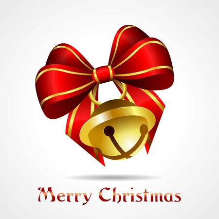 golden jingle bell with red ribbon on white background, christmas vector illustration, eps10 Stock Vector - 15800111