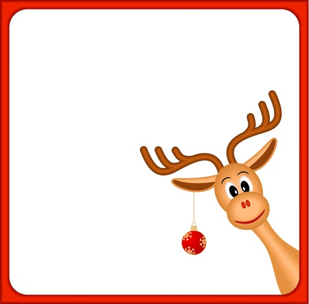 christmas reindeer in empty frame with red border and white background, vector illustration  イラスト・ベクター素材
