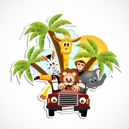 animales safari: jirafa, el elefante, la cebra, el tucán, el mono y el coche de conducción león - ilustración vectorial