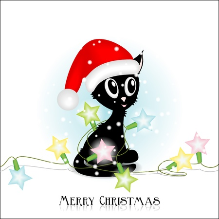 Black funny kitty with Christmas electric lights  Vector