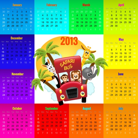 colorful calendar 2013 with animals riding red bus, kid Vector