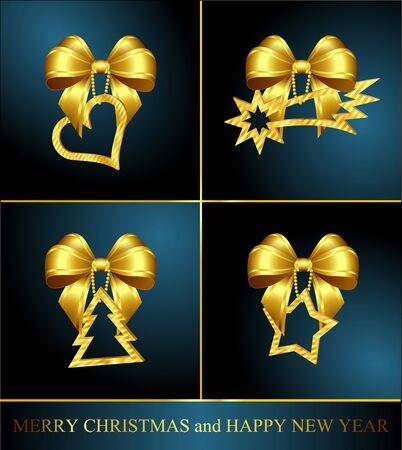 暗い背景に 4 つの黄金のクリスマスの装飾のコレクション