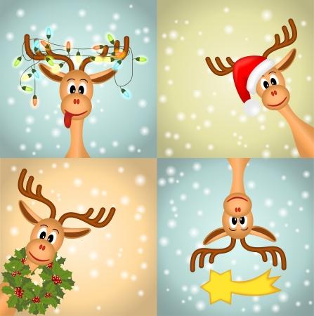 reno de navidad: Cuatro divertido reno de la Navidad Vectores