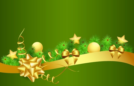 golden ribbons: christmas background with golden and red ribbons, stars, balls and green needles, vector illustration, contains gradients and transparency, eps10