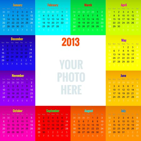 colorful calendar 2013 with blank space for your own photo, vector illustration, contains gradients , eps10 Vector