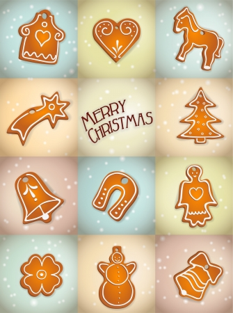 christmas background with gingerbread cookies, vector illustration, contains gradients and transparency, eps10 Stock Vector - 15976195