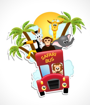 red bus with animals, monkey, giraffe, lion, toucan, zebra, elephant, vector illustration, contains gradients and transparency, eps10 Vectores