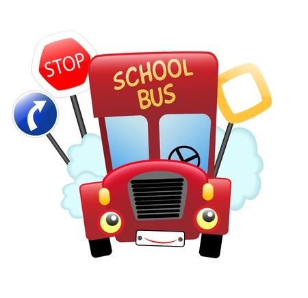red school bus with face, and traffic signs, vector illustration, contains gradients and transparency, eps10