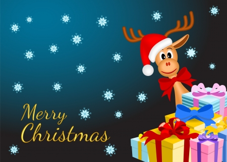 christmas background with funny reindeer and gifts on dark background with snowflakes, vector illustration, eps10 Vector