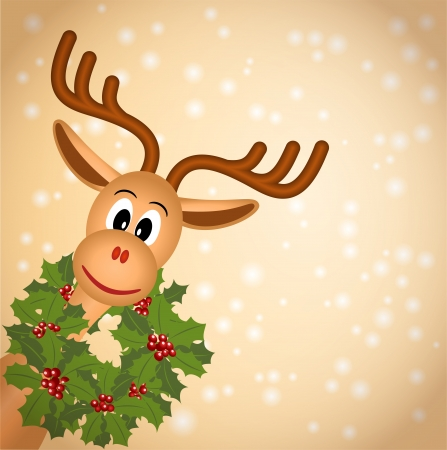 funny christmas reindeer with green wreath of holly, on light brown background with snowflakes, vector illustration, contains gradients and transparency, eps10 Vector