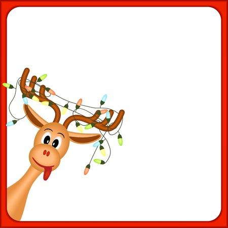 groviglio: renne di Natale con luci elettriche in palchi, su sfondo bianco, in cornice rossa, illustrazione vettoriale