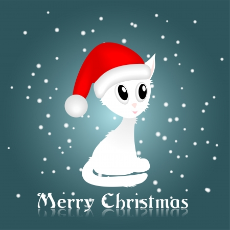 white kitty with red christmas cap,   illustration, contains gradients and transparency Vector