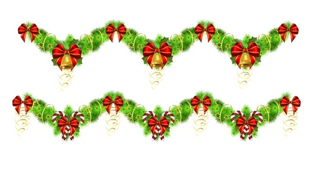 two christmas garlands with golden and red decorations,  illustration,contains gradients and transparency Vector