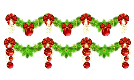 two christmas garlands with golden and red decorations,  illustration, contains gradients and transparency Vector