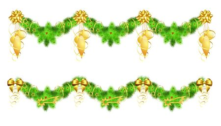 festoon: two christmas garlands with golden decorations, illustration, contains gradients and transparency