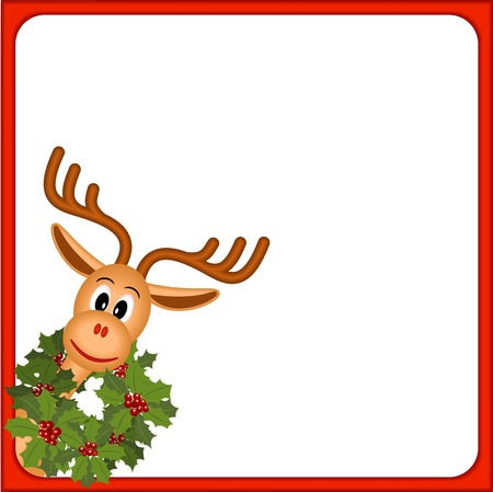 border cartoon: funny christmas reindeer with wreath of holly, illustration