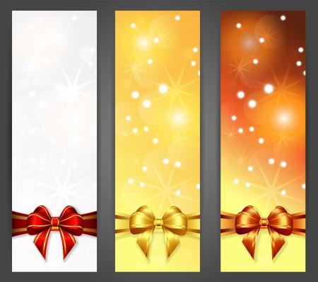 세 개의 크리스마스 세로 배너, 그림, 그라디언트 및 투명도를 포함 일러스트