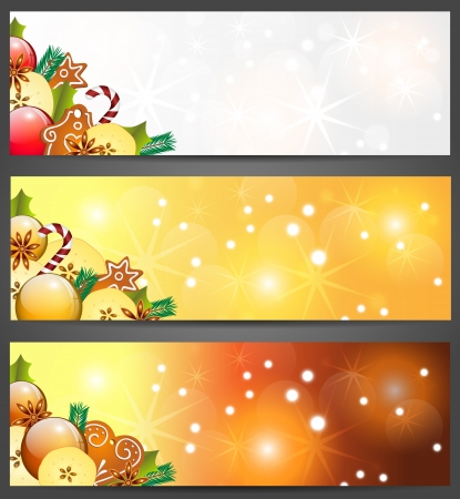 christmas banners with aplles, decorations and gingerbread , illustration, contains gradients and transparency Vector