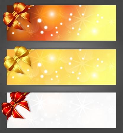 drie kerst horizontale banners Stock Illustratie