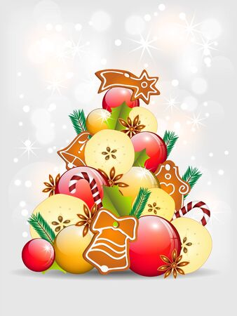 abstract christmas tree, apples, balls and gingerbread Stock Vector - 16311633