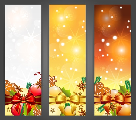 christmas vertical banners with apples, decorations and gingerbread