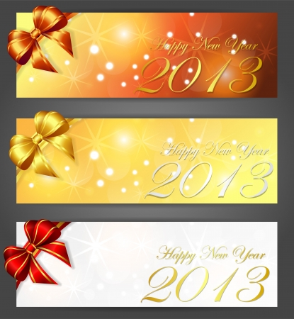 new year 2013 banners, vector illustration, contains gradients and transparency, eps10 Vettoriali