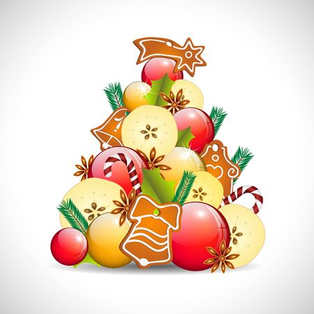 abstract christmas tree, apples, balls and gingerbread, on white background Vector