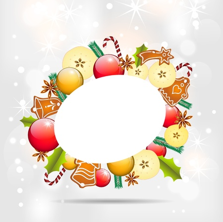 christmas background with balls, apples and gingerbread, illustration, with gradient meshes and transparency Illustration