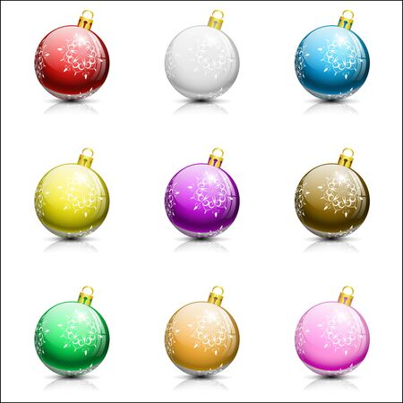 collection of nine christmas balls on white background,  illustration, with transparency Vector
