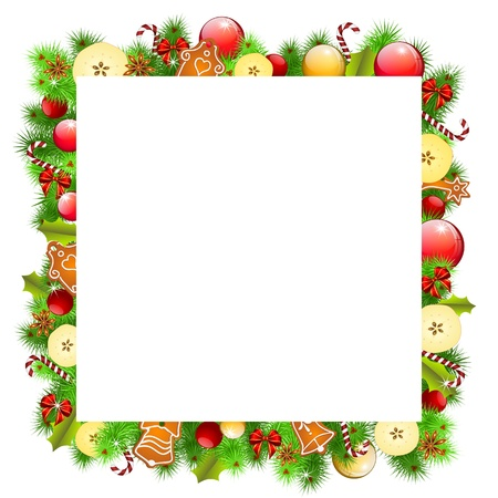 christmas background with apples and gingerbread Illustration