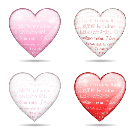 four glossy hearts with text I love you, Valentine concept, isolated on white background, illustration, with gradient meshes and transparency Stock Vector - 17154342