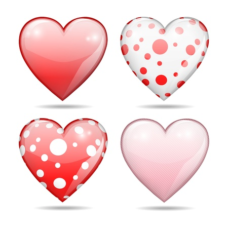 four glossy hearts, red, pink and dotted, Valentine concept, isolated on white background, vector illustration, with gradient meshes and transparency Vector