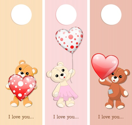 three valentine banners with teddy bears and glossy hearts, vector illustration, with gradient meshes and transparency Stock Vector - 17379023