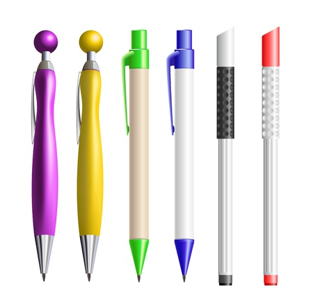 six ballpoints isolated on white background Stock Vector - 17727930