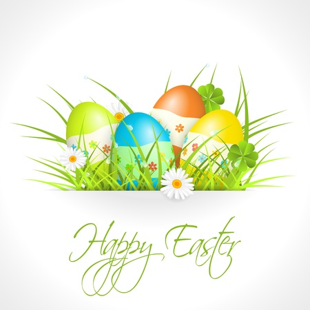 easter eggs in green grass Stock Vector - 17727935