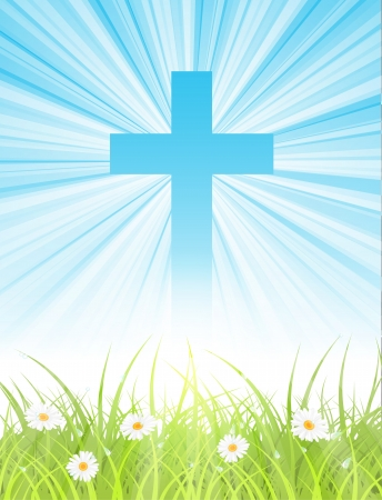 cross on blue sky Vector