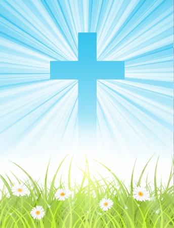 ochtend dauw: kruis op blauwe hemel Stock Illustratie