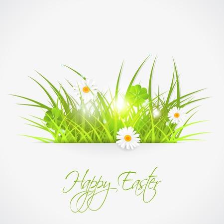 봄 아침, 벡터 일러스트 레이 션의 녹색 잔디, 투명성, 10 주당 순이익
