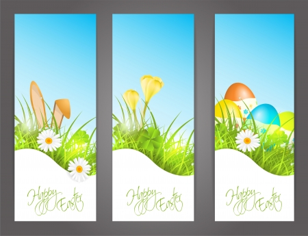three banners with easter motive,  illustration, with transparency and gradient meshes Vector