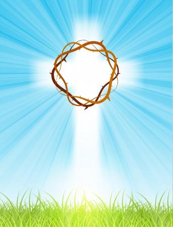 투명성과 그라디언트 망으로, 텍스트, 부활절 인사 카드, 그림으로, 태양 광선 및 녹색 잔디와 푸른 하늘에 십자가