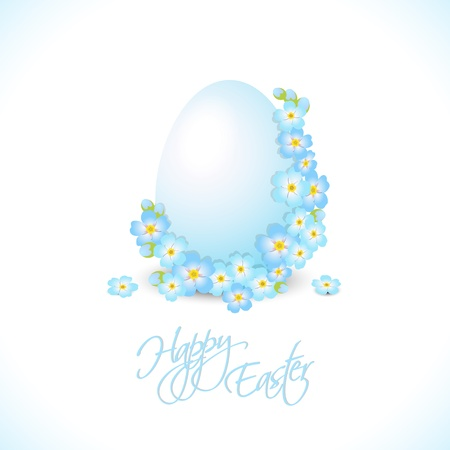 forget me not: easter egg with blue flowers, illustration, with transparency