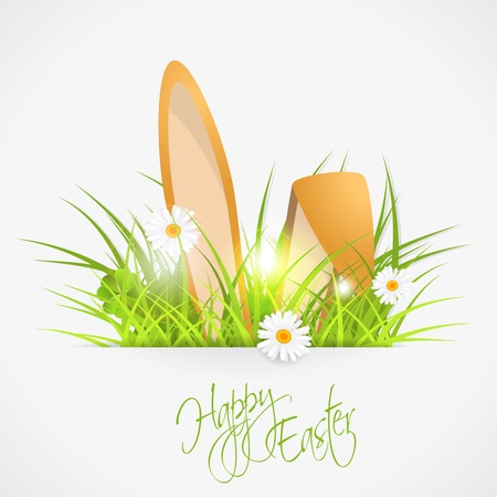 rabbit ears and green fresh grass, easter  illustration, with transparency Vector