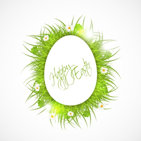 abstract easter illustration, white egg and fresh grass, on white background, vector illustration, with transparency Stock Vector - 18309232