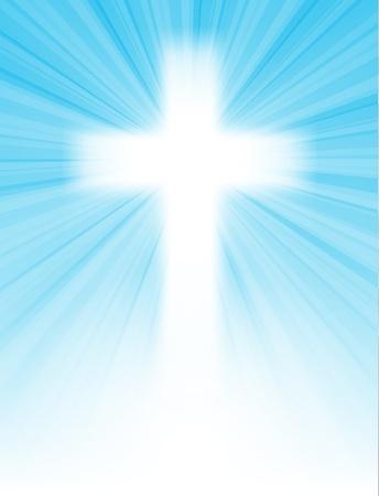 투명성과 그라디언트 메쉬와, 텍스트, 부활절 인사 카드, 그림으로, 태양 광선과 푸른 하늘, 푸른 하늘에 십자가