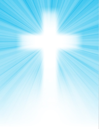 redemption: cross on blue sky, with sun rays and blue sky, with text, easter greeting card,  illustration, with transparency and gradient mesh