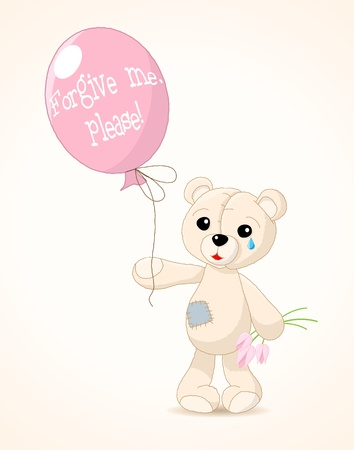 sad teddy holding a pink balloon with text  forgive me, please , vector illustration, eps 8 Vector