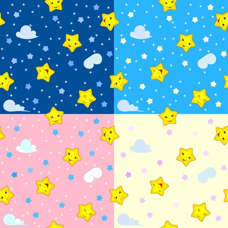 four seamless patterns with happy stars, kid vector illustration, eps 8 Vector