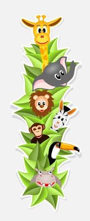 happy cartoon animals, hippo, toucan, zebra, lion, chimpanzee, giraffe and elephant, vector illustration