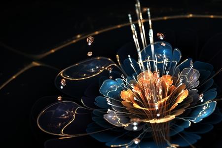 blue - orange flower with droplets of water and golden details on black background, illustration