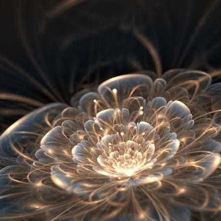 donkerblauw fractal bloem met gouden stralen, illustratie